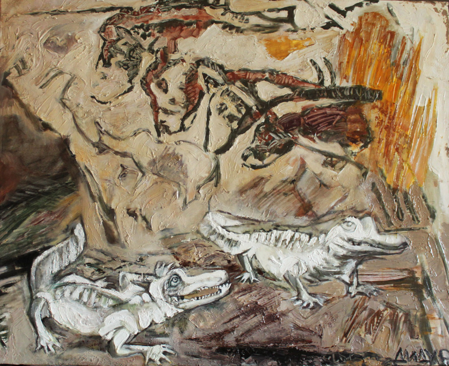 Galya Didur - Autumn motives(visitors in a cave of Chauvet)
