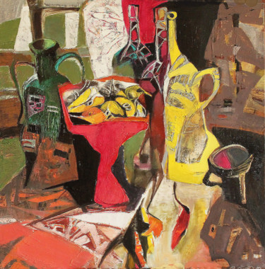 Still life with a red vase